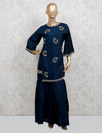 Navy cotton silk party function punjabi sharara suit