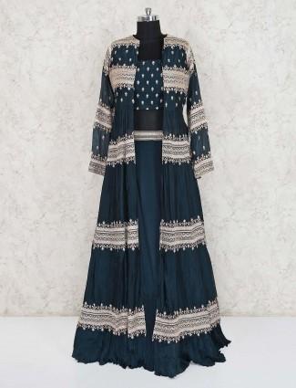 Navy cotton silk party wear designer indo western lehenga suit