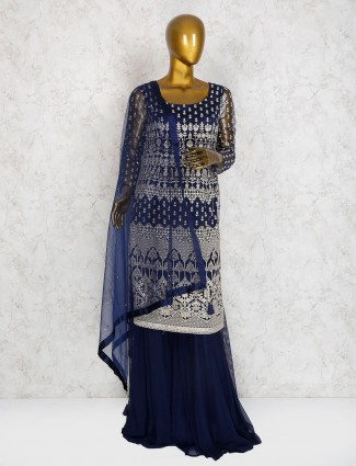 Navy cotton silk party wear sharara suit