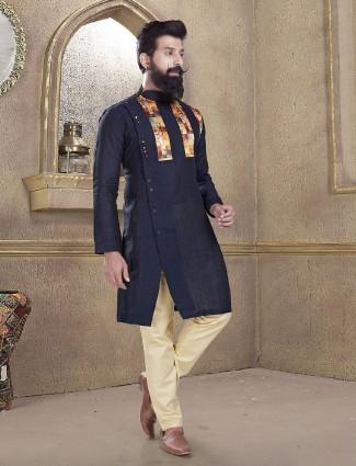 Navy cotton silk solid kurta suit