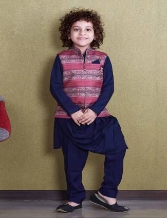 Navy cotton silk waistcoat set