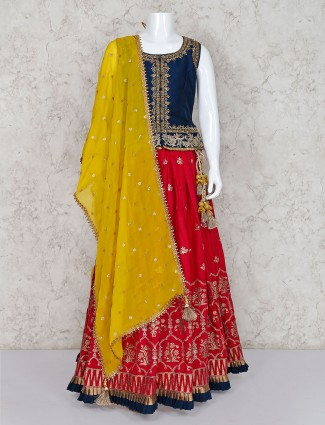 Navy cotton silk wedding lehenga choli