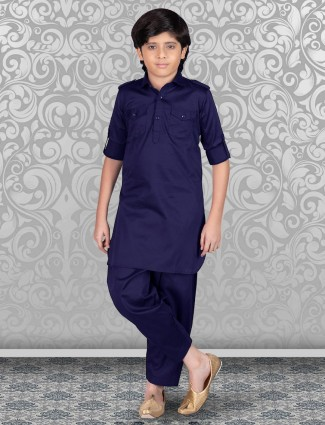 Navy cotton solid boys pathani suit