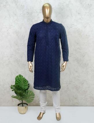Navy cotton stand collar mens kurta suit