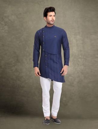 Navy cut style stripe cotton kurta suit