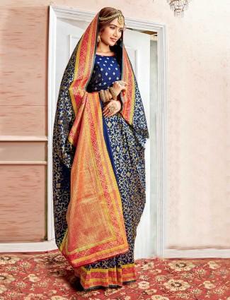 Navy designer banarasi silk saree