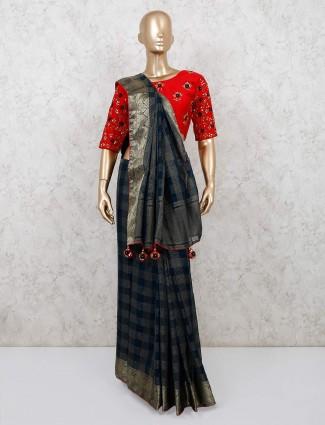 Navy designer chanderi silk saree with readymade blouse