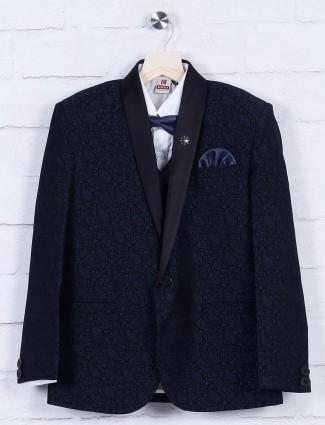 Navy designer printed terry rayon tuxedo suit