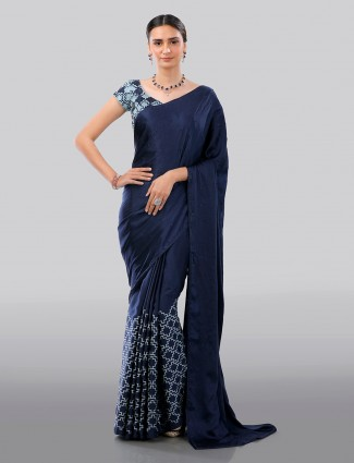 Navy designer satin saree