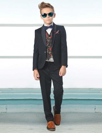 Navy designer solid terry rayon boys tuxedo suit