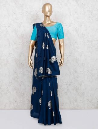 Navy dola silk saree for festivals