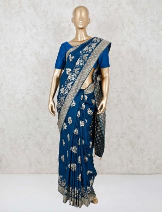 Navy dola silk saree with tassels design pallu