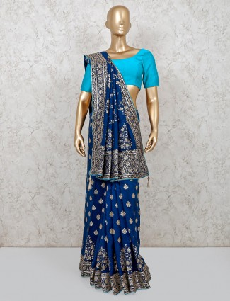 Navy dola silk sober saree for festive