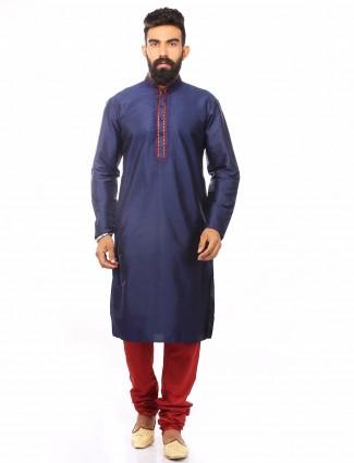 Navy dupion silk solid festive wear Mens Kurta Suit