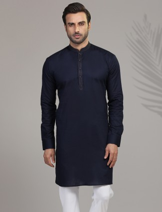 Navy full sleeves kurta in cotton