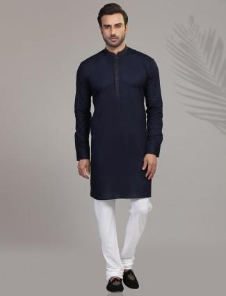 Navy full sleeves kurta suit for festive