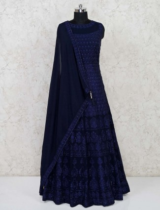Navy georgette designer floor length gown