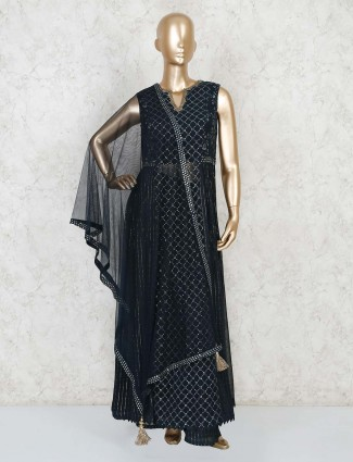 Navy georgette febric party wear palazzo suit