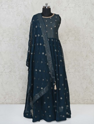 Navy georgette floor length anarkali suit for party