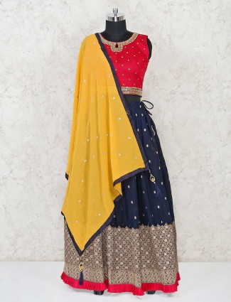 Navy georgette lehenga with dark pink choli and yellow dupatta