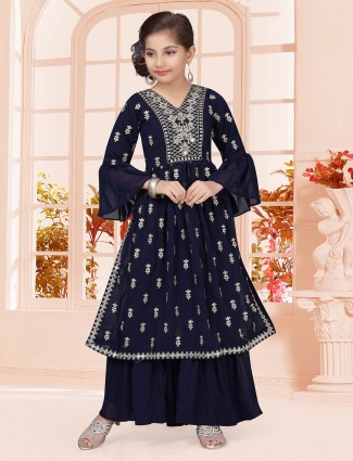 Navy georgette party wear punjabi suit