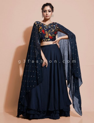 Navy georgette printed indo western for party