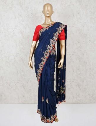 Navy georgette saree for wedding wear