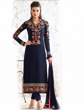 Navy georgette semi stitched salwar suit