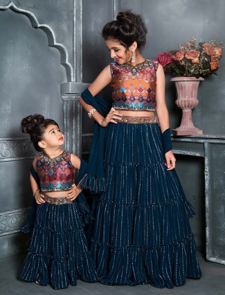 Navy georgette wedding wear lehenga choli