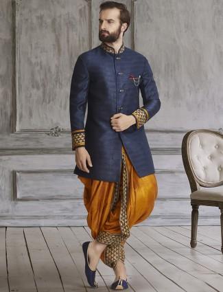 Navy golden silk dhoti style indo western
