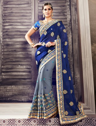 Navy grey hue georgette saree