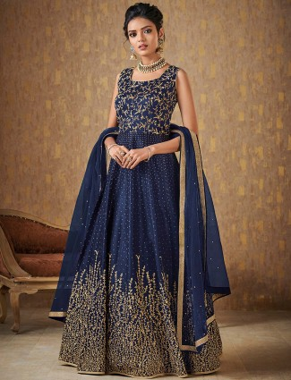 Navy hue anarkali suit in raw silk