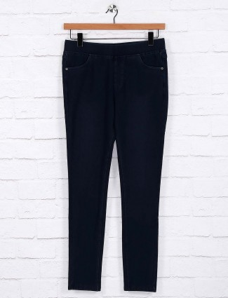 Navy hue color cotton jeggings