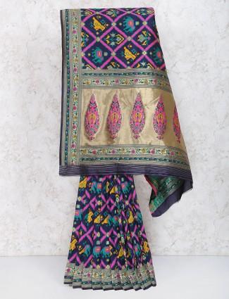 Navy hue color semi silk saree