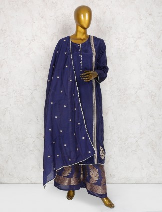 Navy hue cotton dabric palazzo suit