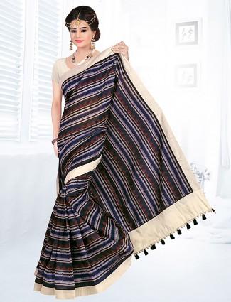 Navy hue cotton saree