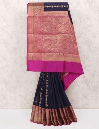 Navy hue cotton silk sari