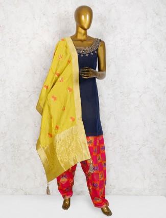 Navy hue cotton silk simple punjabi salwar suit