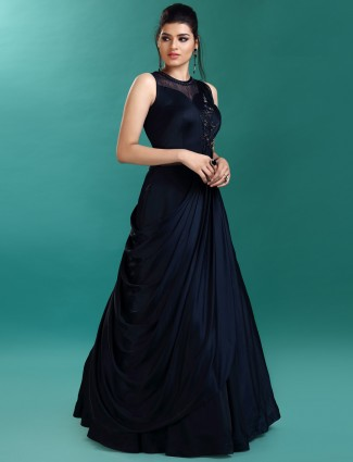 Navy hue designer gown in satin