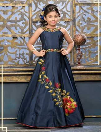 Navy hue designer silk fabric gown