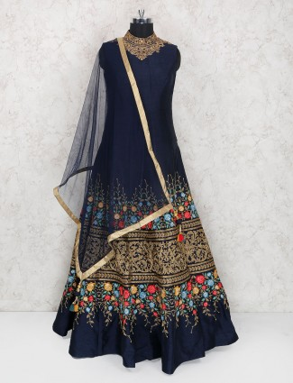 Navy hue floor length anarkali suit in raw silk