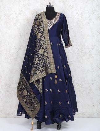 Navy hue floor length cotton silk pakistani anarkali suit