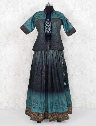 Navy hue jacket style lehenga choli