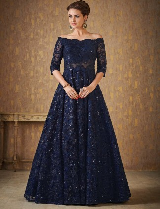 Navy hue net fabric anarkali suit