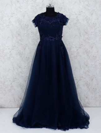 Navy hue party gown in net