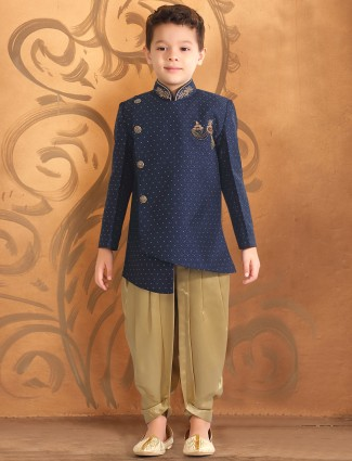 Navy hue party wear solid indo western
