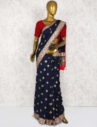Navy hue pretty saree in cotton silk