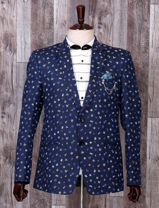 Navy hue printed terry rayon party wear blezer