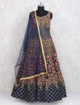 Navy hue raw silk floor length anarkalisuit