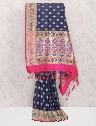 Navy hue semi silk designer sari